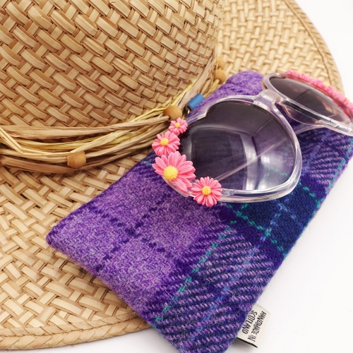 Purple Check Harris Tweed Glasses Pouch - A Spectacle Receptacle