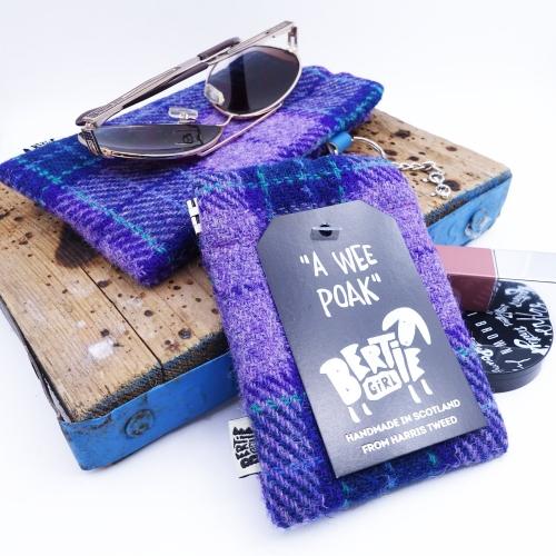 Purple Check Harris Tweed Coin Purse by Bertie Girl - A Wee Poak
