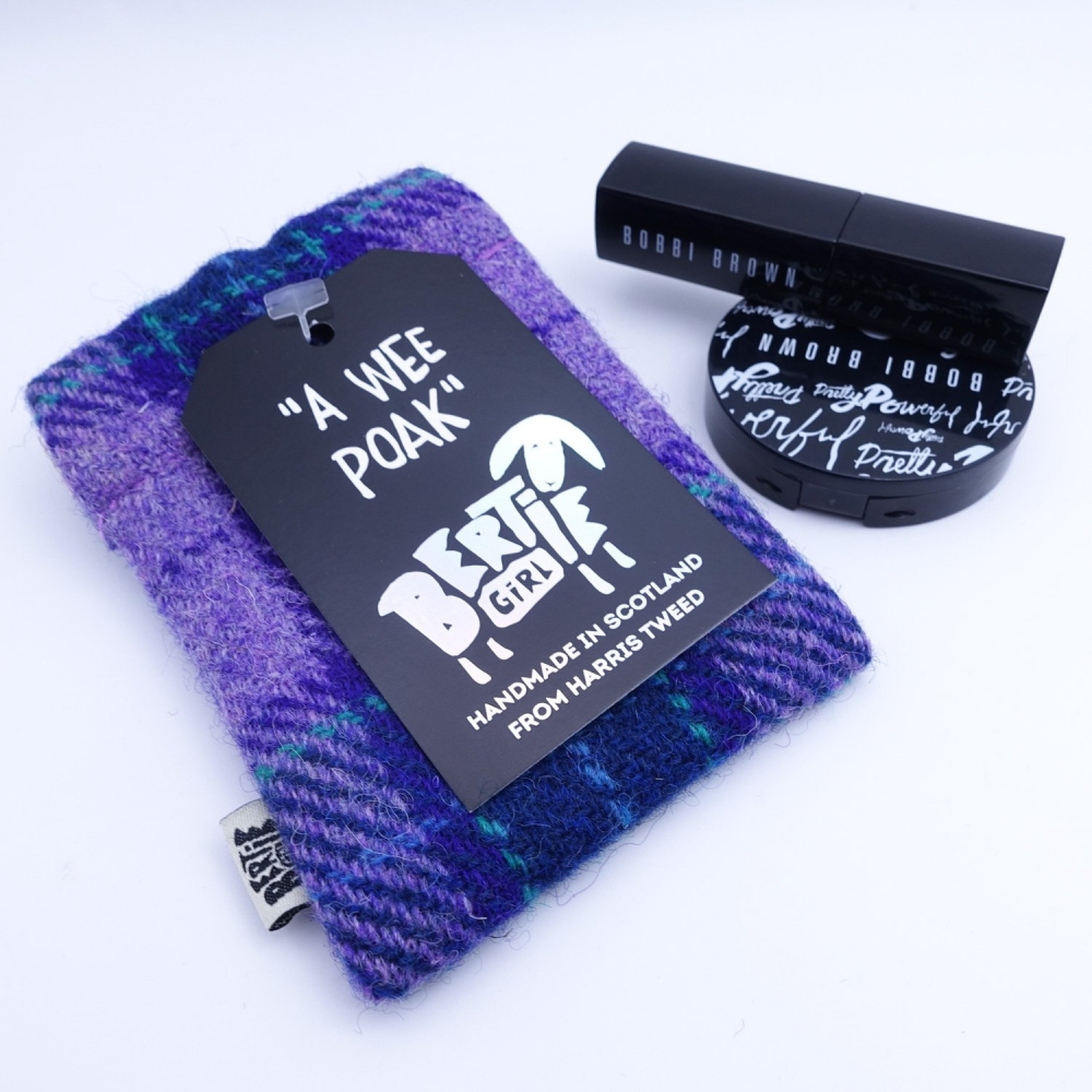 Purple Check Harris Tweed Coin Purse by Bertie Girl - A Wee Poak