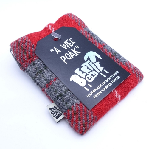 Red Check Harris Tweed Coin Purse by Bertie Girl - A Wee Poak