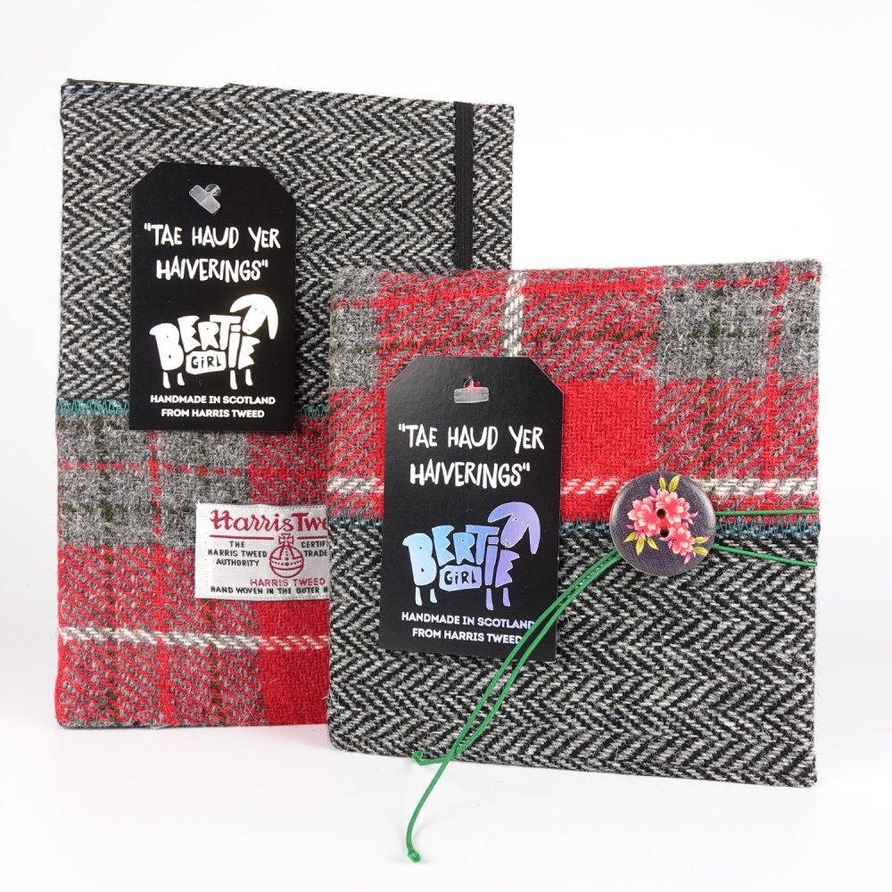 Red Check and Black Herringbone A5 and Square Harris Tweed Notebooks