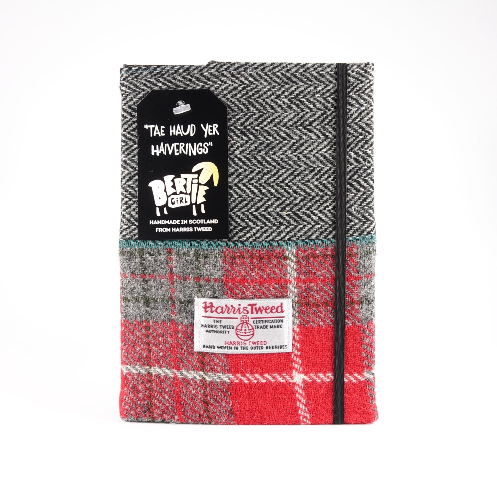 Red Check and Black Herringbone A5 Harris Tweed Notebook
