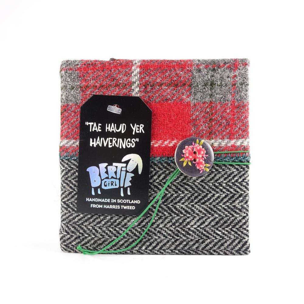 Red Check and Black Herringbone Square Harris Tweed Notebook