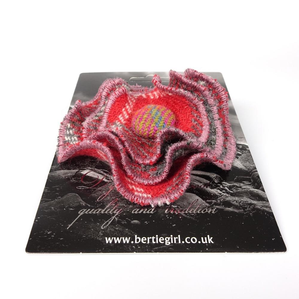 Red Check Harris Tweed Flower Brooch by Bertie Girl