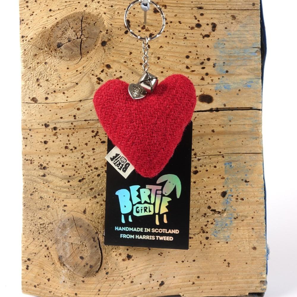 Red Harris Tweed Heart Keyring With bell by Bertie Girl - A Peedie Heart