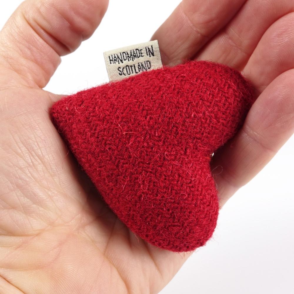 Pillar Box Red Harris Tweed Heart Keyring With bell by Bertie Girl - A Peedie Heart