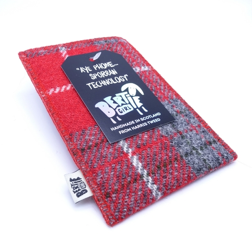 Red Check Harris Tweed Glasses Pouch - A Spectacle Receptacle