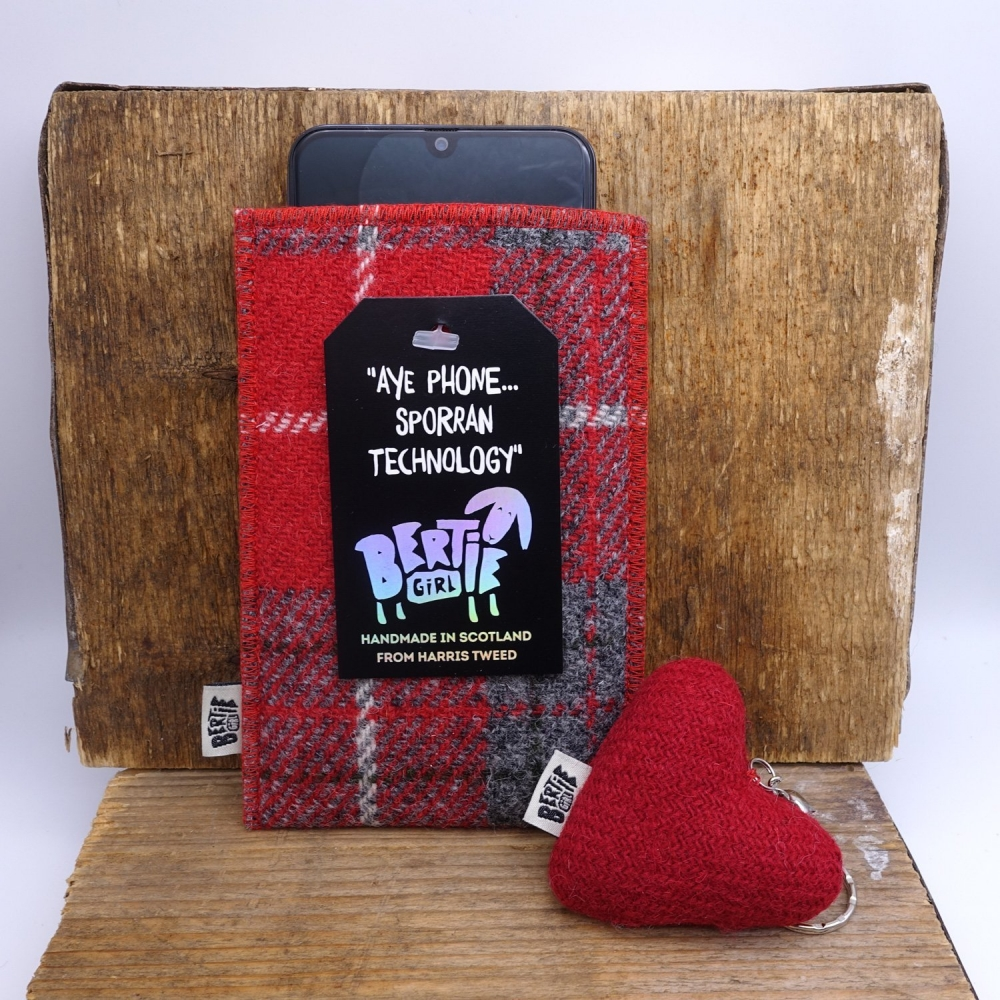 Red Check Harris Tweed Phone Sleeve by Bertie Girl - Aye Phone... Sporran Technology