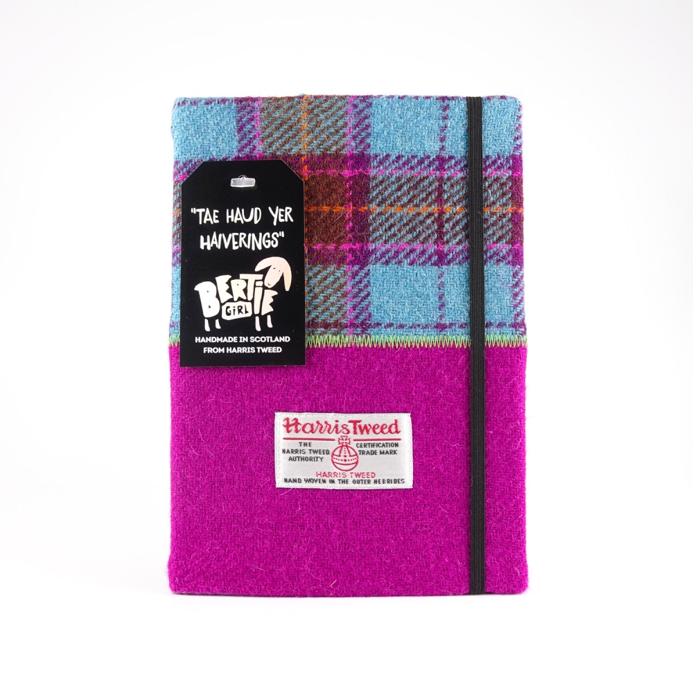 Teal Check and Pink Check A5 Harris Tweed Notebook