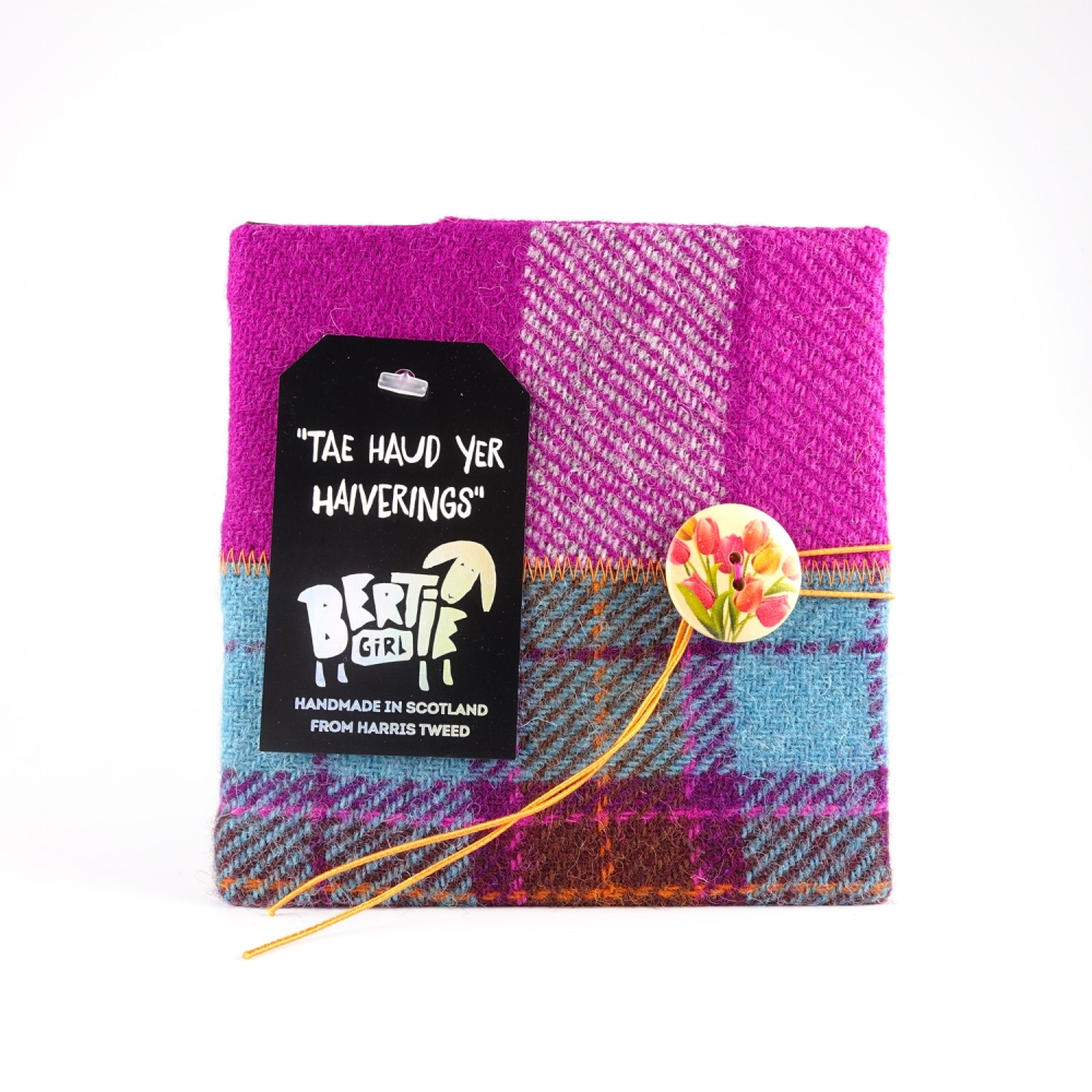 Teal Check and Pink Check Square Harris Tweed Notebook