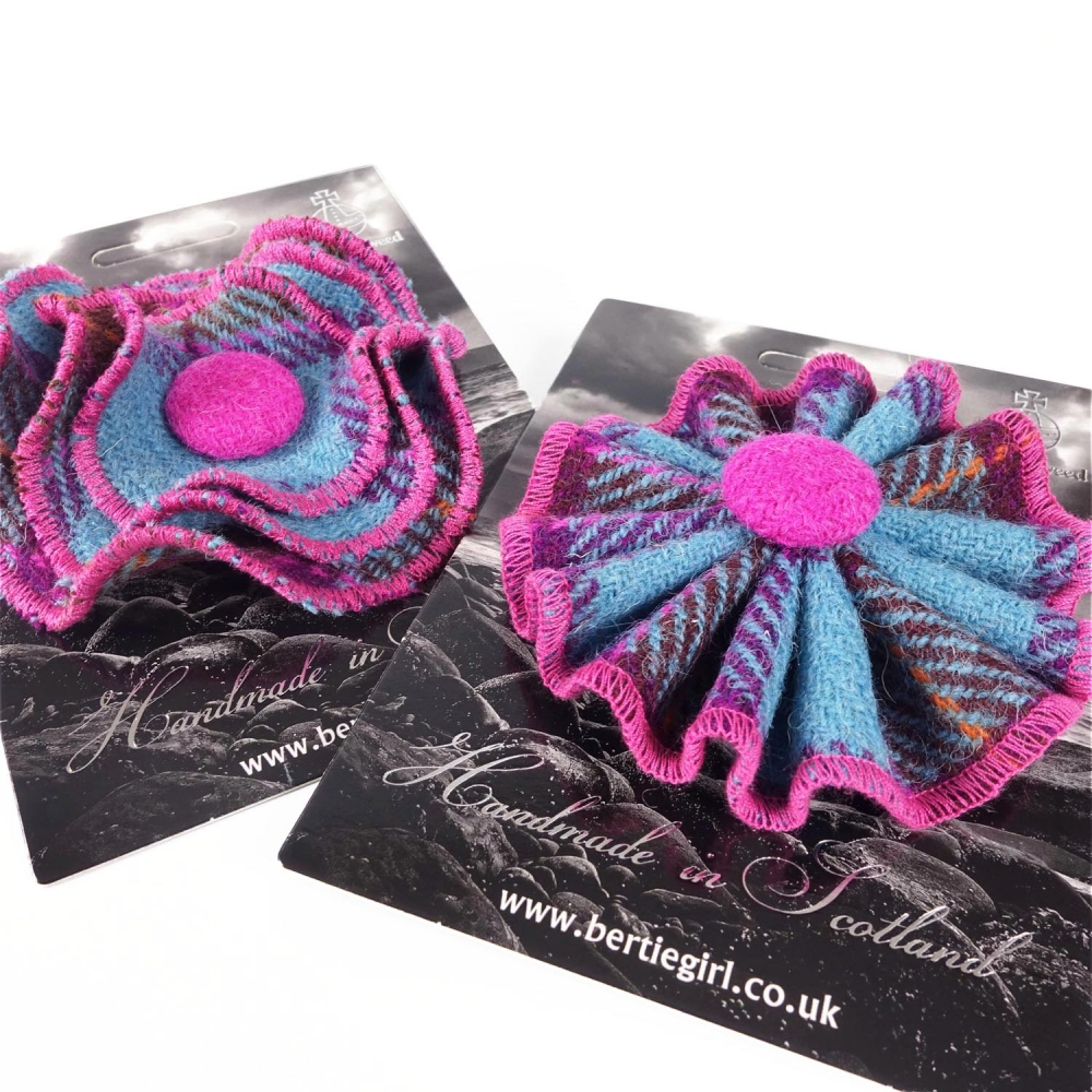 Pink and Teal Check Harris Tweed Flower and Rosette Brooches by Bertie Girl