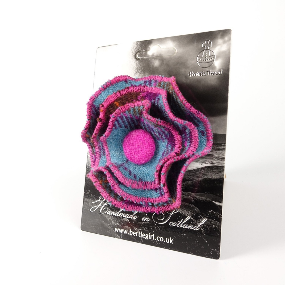 Teal and Pink Check Harris Tweed Flower Brooch by Bertie Girl