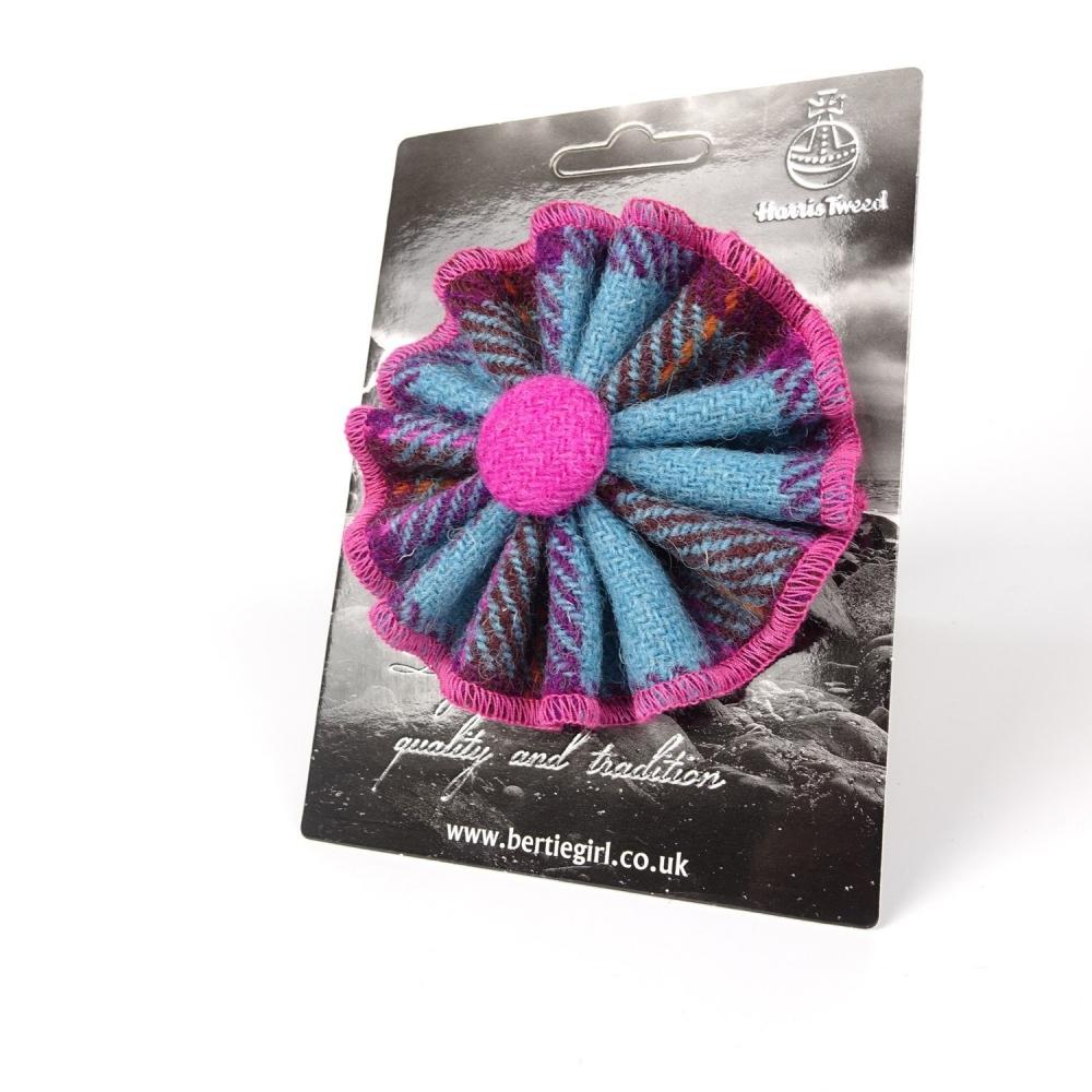 Teal and Pink Check Harris Tweed Rosette Brooch by Bertie Girl