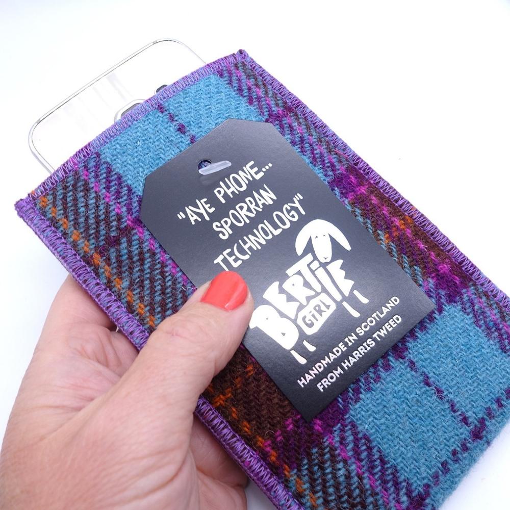 Teal and Pink Check Harris Tweed Phone Sleeve by Bertie Girl - Aye Phone... Sporran Technology