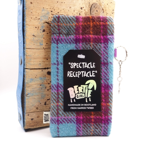 Teal Check Harris Tweed Glasses Pouch - A Spectacle Receptacle