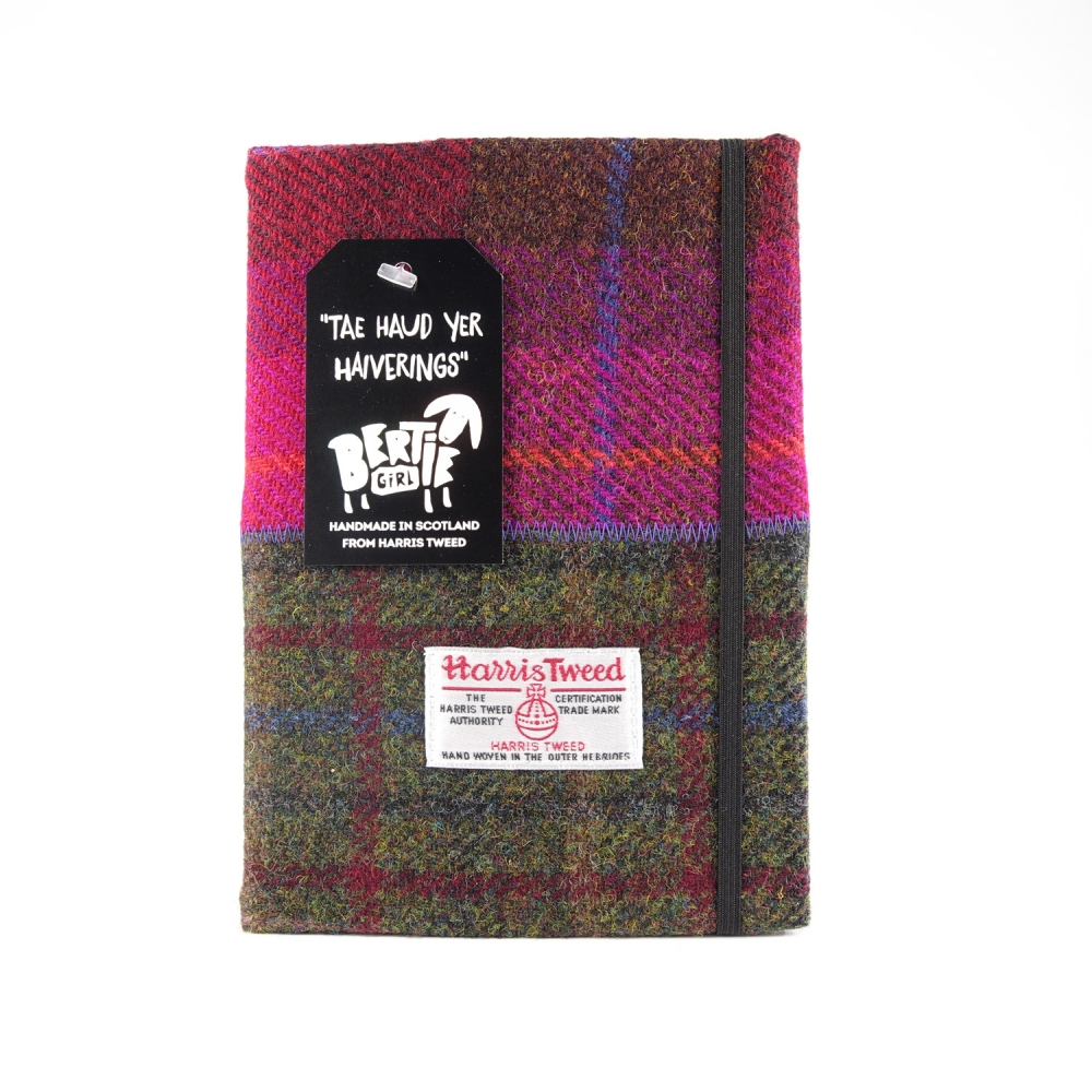 Wine and Green Harris Tweed A5 Notebook