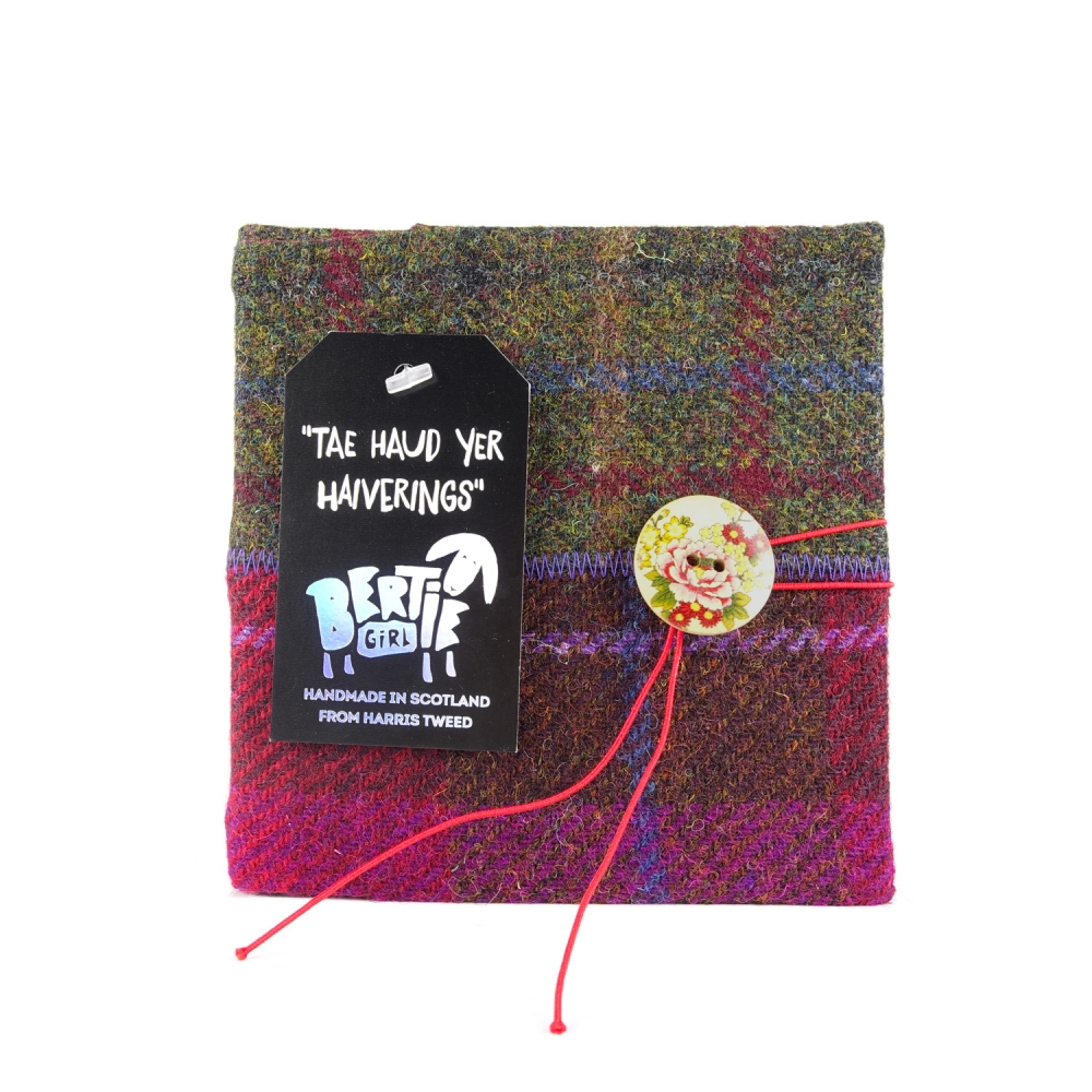 Wine and Green Harris Tweed Square Notebook